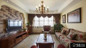 美式客厅电视背景墙设计效果图欣赏