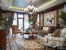 美式别墅客厅吊顶装修效果图大全