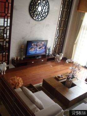 现代中式风格复式楼客厅电视背景墙装修效果图