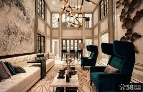 新古典别墅客厅吊灯效果图