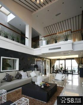 大复式楼客厅沙发背景墙装修效果图