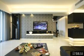 现代中式客厅电视背景墙壁纸装修效果图