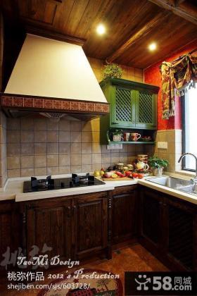 美式乡村风格厨房实木橱柜效果图