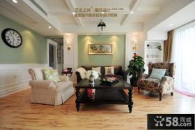 田园美式风格100平米户型客厅装修效果图