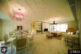简欧风格客厅餐厅一体吊顶装修效果图