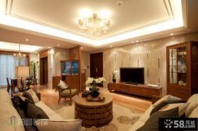 中式风格小户型客厅电视背景墙装修效果图