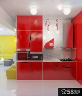 90平米小户型红色的橱柜打造现代厨房装修效果图