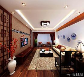 中式风格客厅沙发瓷器背景墙
