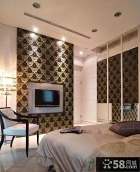 简约现代风格卧室电视背景墙效果图大全2015