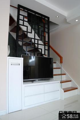 简约风格复式楼屏风电视背景墙装修效果图