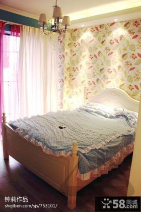 欧式田园小卧室壁纸装修效果图