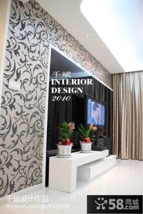 现代简约电视背景墙墙壁纸效果图片