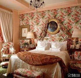 美式田园卧室壁纸装修效果图片
