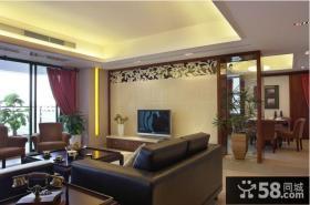 美式二居客厅瓷砖电视背景墙效果图