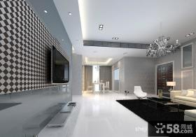 现代风格客厅马赛克电视背景墙瓷砖图片