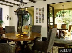 美式田园风格家具餐厅吊顶效果图