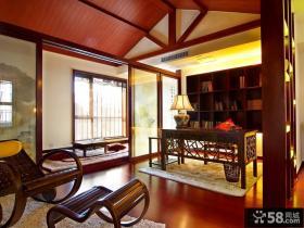 中式风格别墅书房隔断装修效果图