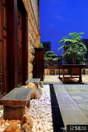 新中式风格顶楼阳台效果图
