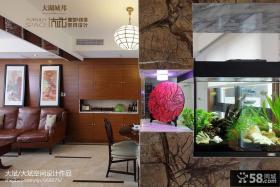 现代中式客厅过道吊顶隔断鱼缸墙造型