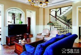 美式田园风格复式楼客厅装修效果图
