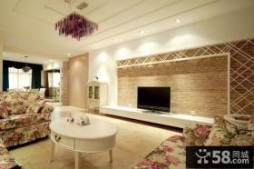 欧美田园风格装修图片 客厅电视背景墙装修效果图