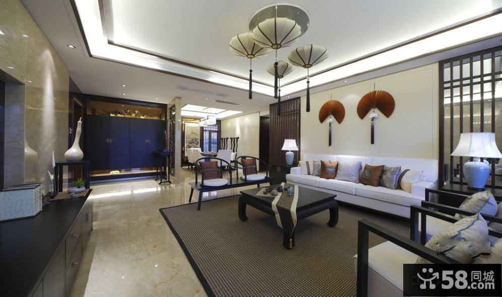中式风格别墅客厅吊顶造型设计
