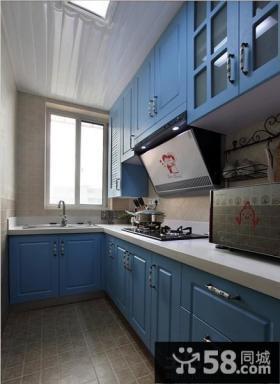 地中海风格厨房实木橱柜图片大全
