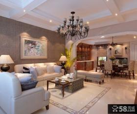 龙发装饰_350㎡美式风格叠拼别墅客厅装饰设计