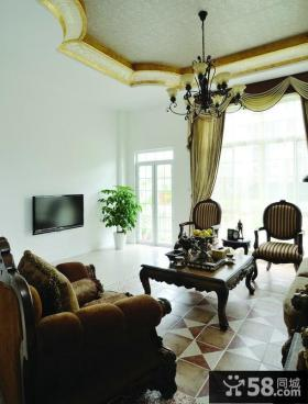 美式精装修设计客厅电视背景墙效果图大全
