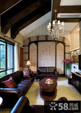 地中海风格别墅挑高客厅吊顶效果图