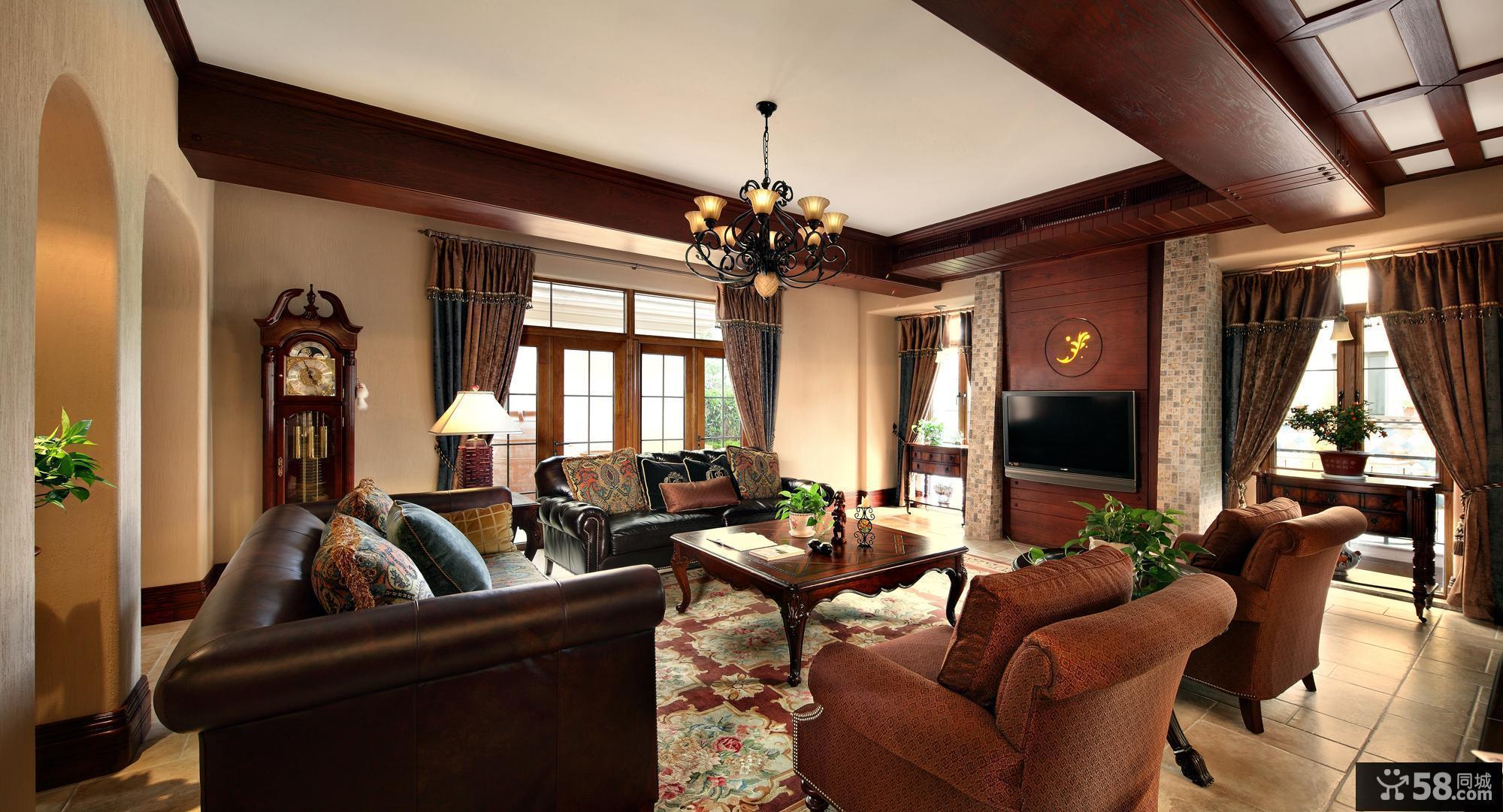 美式乡村客厅吊顶设计效果图图片