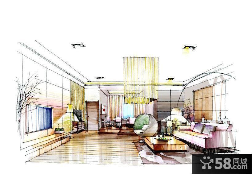 【客厅手绘电视墙】 - 58同城装修效果图大全