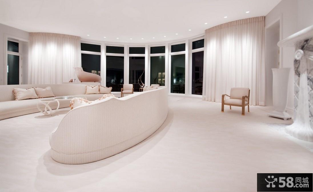 白色极简别墅客厅装修效果图