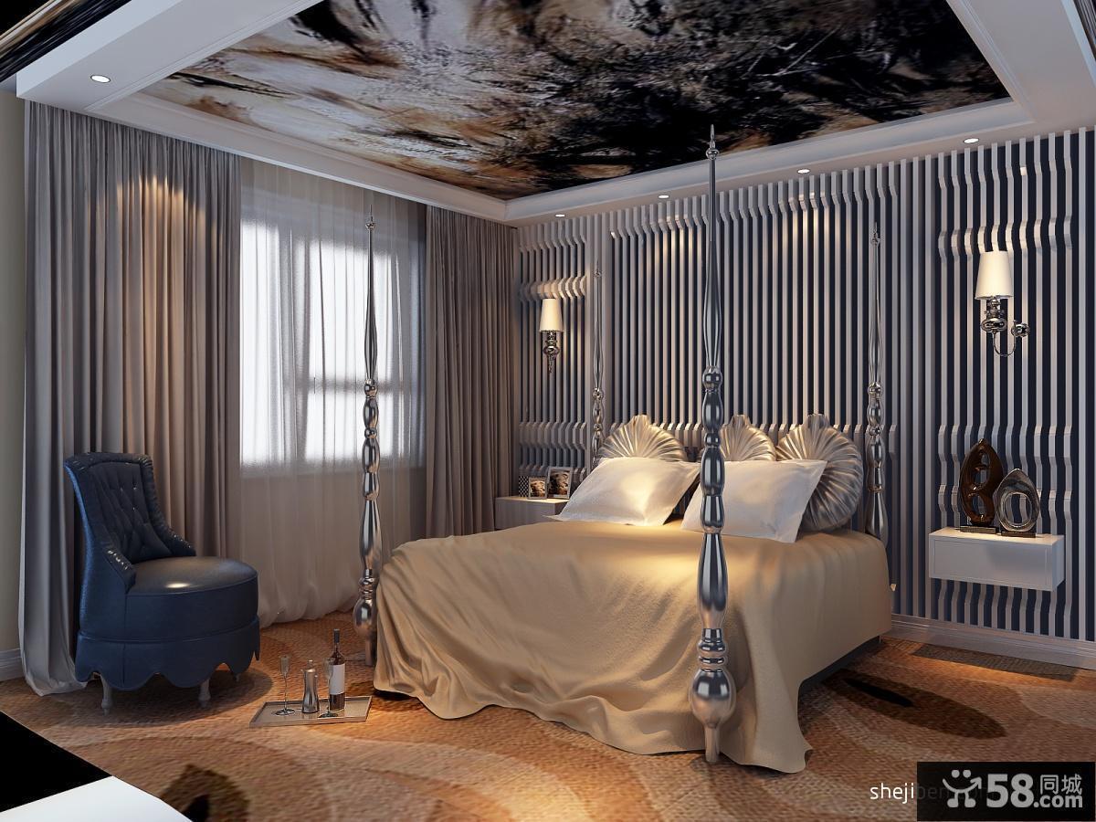 卧室天花板手绘吊顶装修效果图