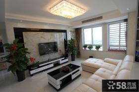 现代简约客厅装修瓷砖电视背景墙效果图
