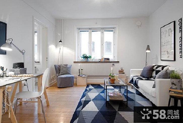 北歐風格客廳兼書房效果圖