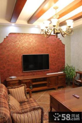美式风格二居室客厅背景墙效果图