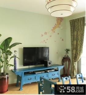 现代中式电视背景墙壁纸效果图