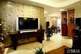 中式风格电视背景墙壁纸图片