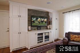 美式小复式客厅电视柜装修效果图