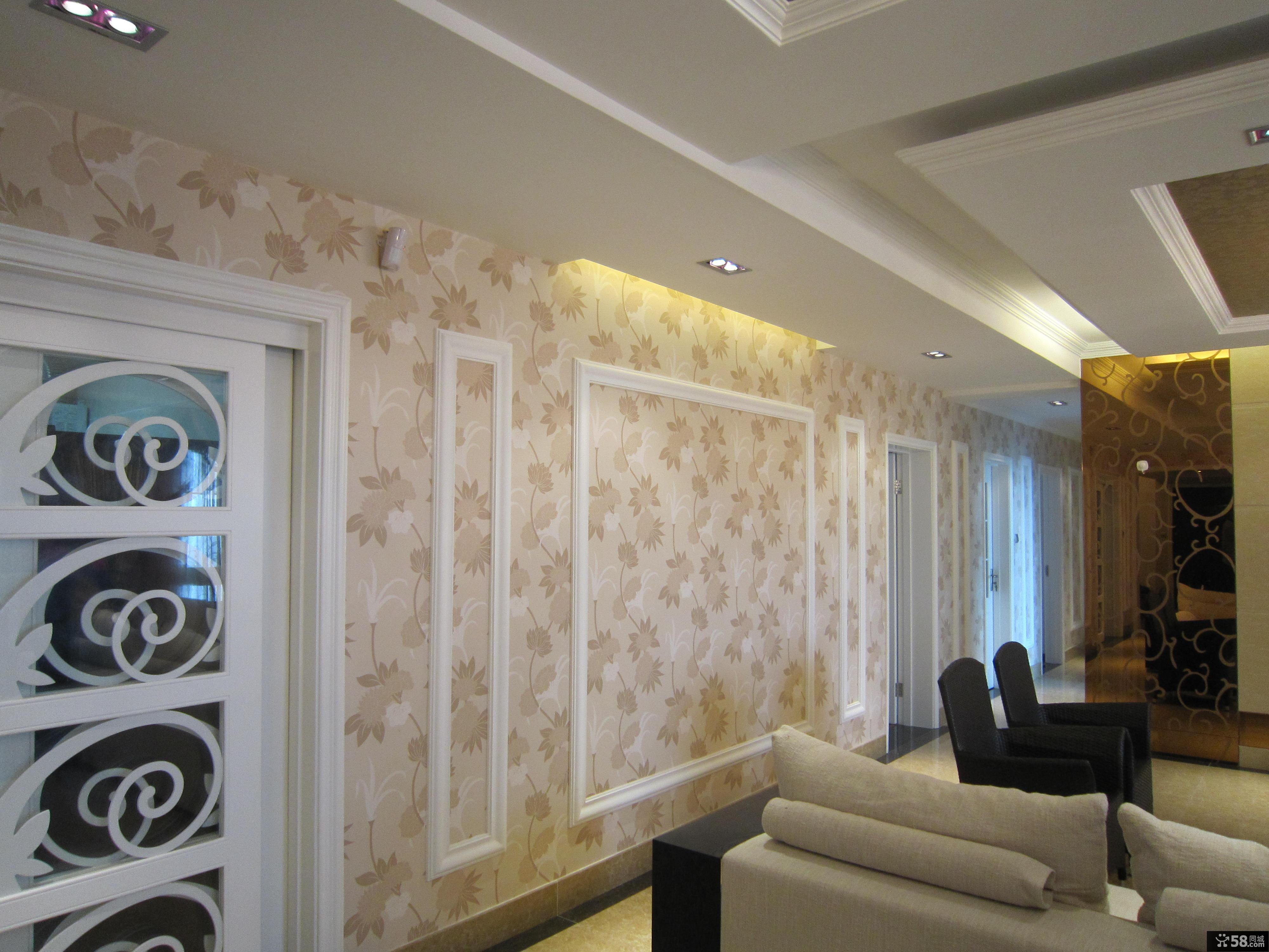 欧式风格精装修背景墙壁纸效果图