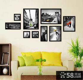 客厅黑白照片装饰画图片
