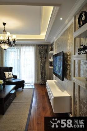 家居客厅方形石膏板吊顶装修图片