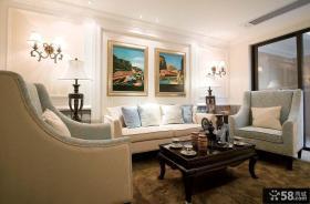 地中海别墅客厅沙发墙装饰画图片