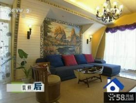 交换空间60平小户型地中海客厅油画背景墙装修效果图