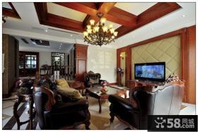 优质美式风格别墅客厅吊顶效果图