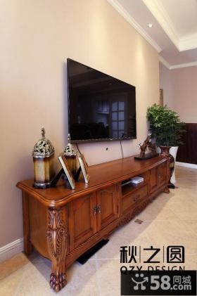 美式二居实木电视柜效果图
