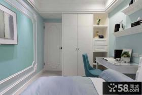现代美式风格卧室书房设计效果图