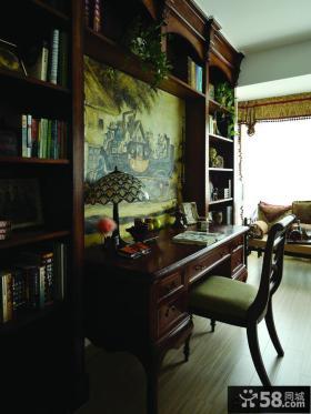 美式书房墙面彩绘装修效果图