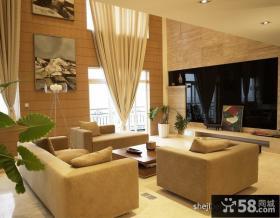 挑高客厅烤漆电视背景墙装修效果图
